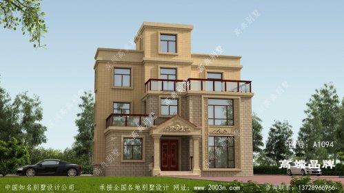 外墙贴黄色瓷砖三层别墅外观简洁