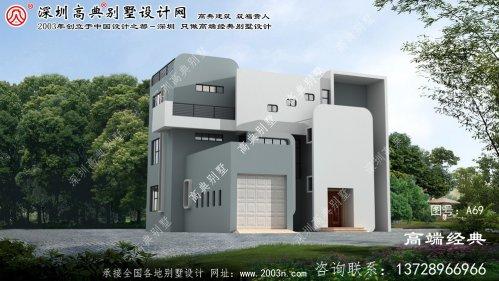 大丰市现代三层别墅外观简洁奢华配车库