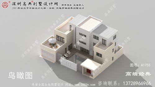 河曲县农村楼中楼别墅设计图现代庭院风格
