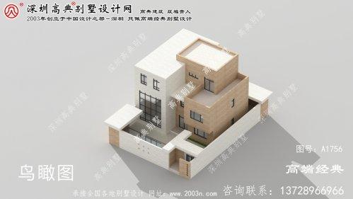 偏关县小别墅图纸及效果图庭院式现代别墅