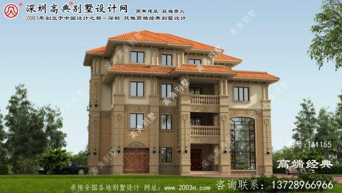 阳朔县设计图纸为三层独栋别墅,自建小户型住