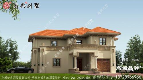 农村自建二层别墅造型漂亮大气。