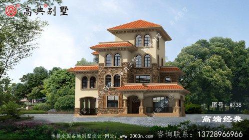 农村别墅款式四层自建房设计图,外观简约大气