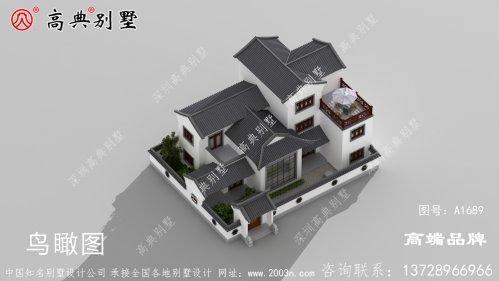 房子设计图三层中式别墅高低错落有致