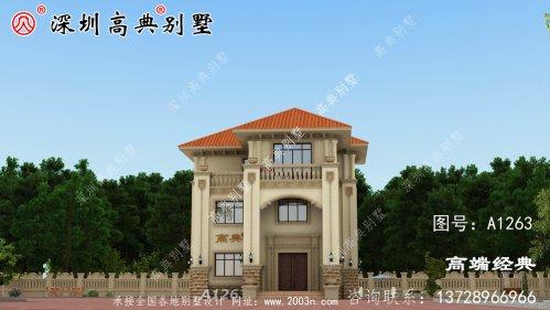 门面11.4米X深度12.4米三层别墅设计图,带庭院,