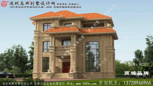 门面17.4米X深度13.4米三层房屋设计图,户型经典