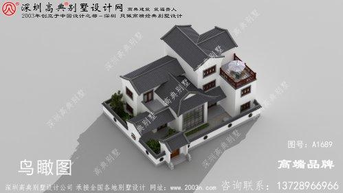 农村三层别墅四合院建筑设计图纸