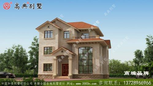 别墅外观浅棕色为主古典耐看耐脏
